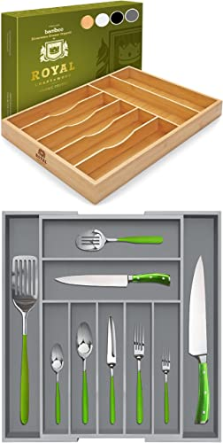 new arrival Basic high quality Silverware Drawer Organizer, Natural and Gray Silverware Drawer sale Organizer outlet sale