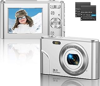 CLUINIGO Digitalkamera FHD 1080P 36MP Pocket Vlogging Vidio Foto Kompaktkamera für YouTube mit 16-fachem Digitalzoom, 2,4-Zoll-LCD-Bildschirm für Kinder Senioren Anfänger Reise Silber (2 Batterien)