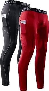 SILKWORLD Men's Cool Dry Compression Leggings Running Tight Baselayer Workout Pockets Pants