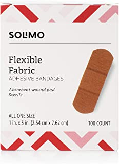 Amazon Brand - Solimo Flexible Fabric Adhesive Bandages, One Size, 100 Count