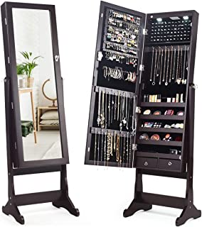 Giantex 2 LEDs Lockable Standing Jewelry Cabinet with Full-Length Mirror, Lockable Mirrored Jewelry Armoire with Scarf Rod 2 Drawers and 4 Adjustable Angle, Brown