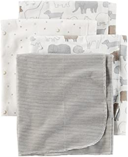 Carters 4-Pack Receiving Blanket Animals & Stars Gray
