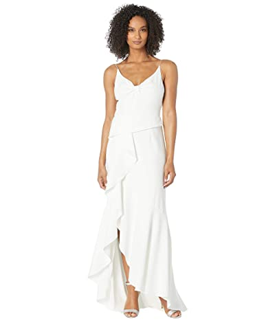 Adrianna Papell Knit Crepe Cascading Gown (Ivory) Women