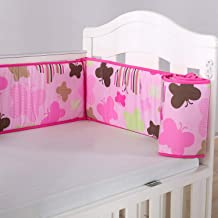 Wowelife Butterfly Crib Sets Pink Girl Crib Bedding Nursery Bedding Cotton 7 Piece with Bumpers Pink Butterfly
