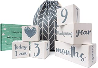 Baby Milestone Blocks - USA Certified Non Toxic Age Blocks for Baby Pictures - All 52 Weeks - Eco Friendly Natural Wood Ne...