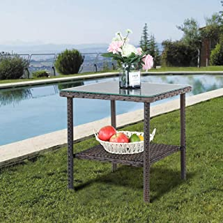 Amazon Com Outdoor Side Tables Glass Wicker Side Tables Tables Patio Lawn Garden
