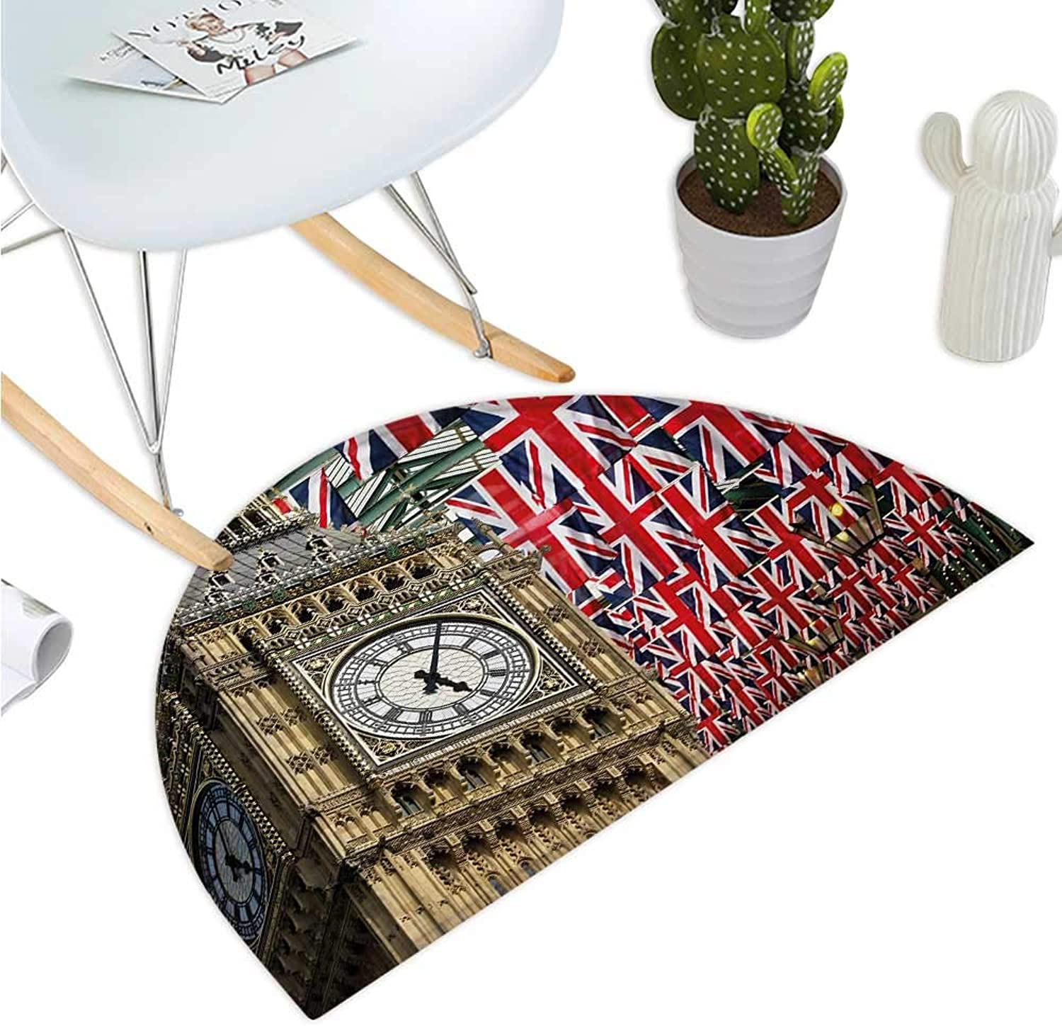 Union Jack Semicircle Doormat UK Flags Background with Big Ben Festive Celebrations Loyalty Halfmoon doormats H 39.3  xD 59  Pale Coffee Navy bluee Red