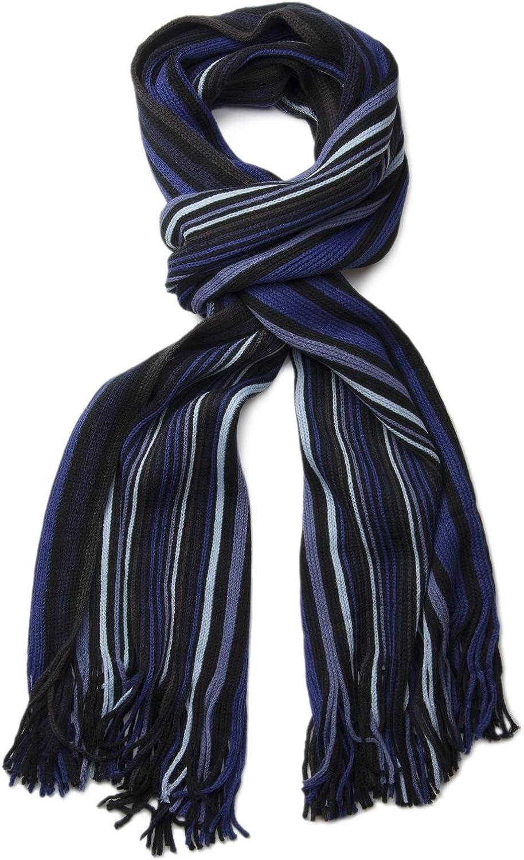 styleBREAKER Herren Feinstrick Schal mit Streifen gestreift 01018117 weich und warm Winter Strickschal mit Fransen