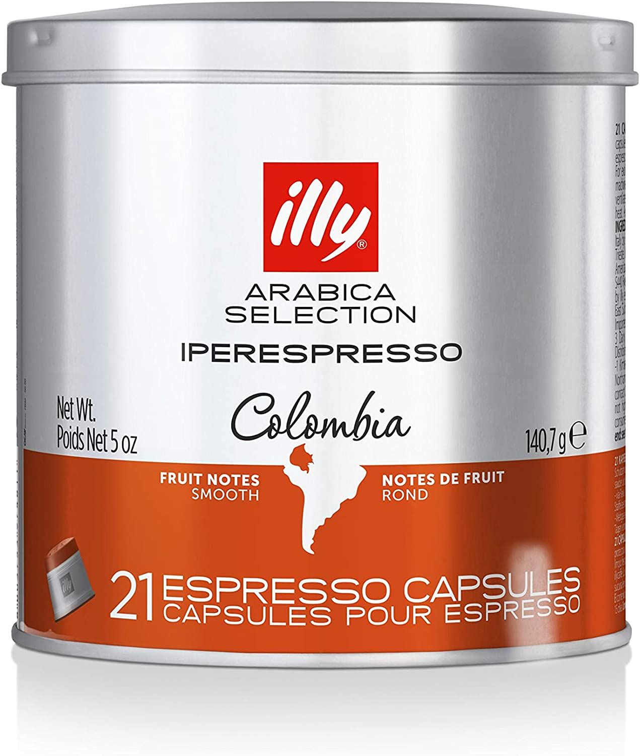 Illy iperEspresso Capsules Arabica Selection Colombia - 21 Single Serve Capsules (Casepack of 6 Cans)