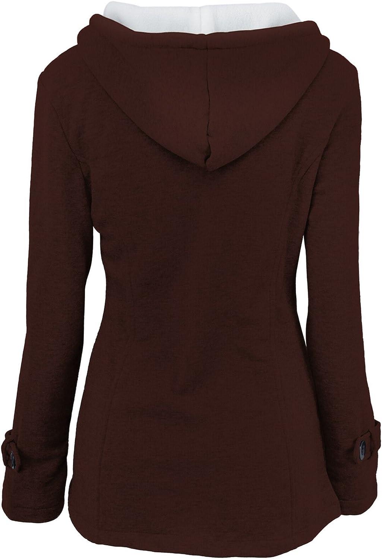 Women Winter Wool Hooded Horn Button Coat Warm Hoodie Sweatershirts Parka Jacket