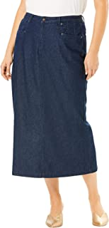 Women's Plus Size Classic Cotton Denim Long Skirt
