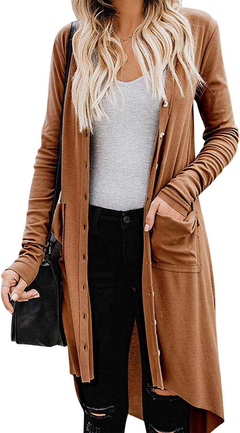 HONGJ Cardigan for Womens, Fashion Long Sleeve Open Front Drape Lightweight Coat Leisure Button Long Dusters with Pocket