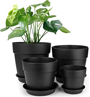 HOMENOTE 7/6.5/5/3.7 inch Plastic Planters Indoor Set of 4 Black Plant Pots with Drainage Trays Modern Round Flower pots for House Plants, Succulents, Flowers