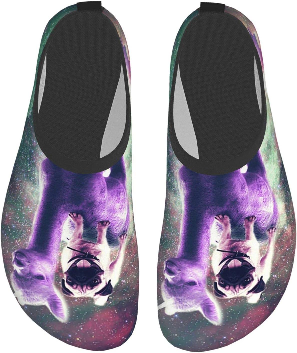 Womens Mens Summer Water Shoes Space Pug Riding Unicorn Llama Funny Dog Barefoot Shoe Quick Dry Aqua Socks