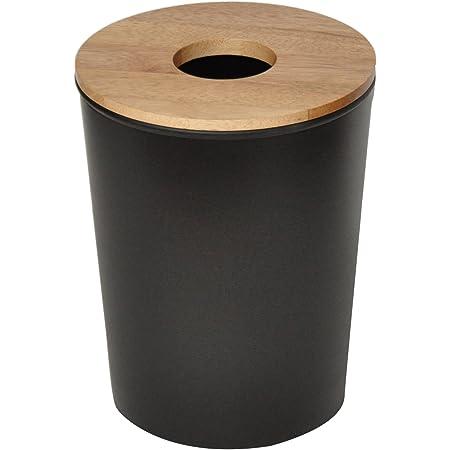 Opportunity 26B1506010070 Poubelle, Plastique et bois, Noir, 23 x 23 x 30 cm