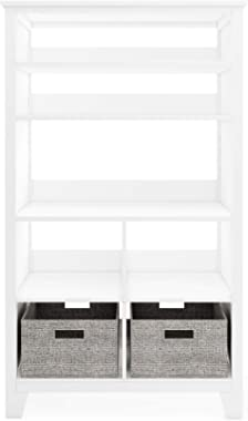 Martha Stewart Living and Learning Kids' Tall Bookcase (White) – 48 Inch Wooden Storage Organizer Cubby with Fabric Bins