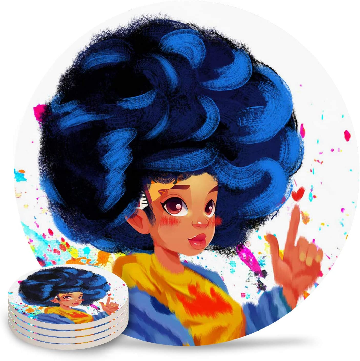 Drink Coasters African Black Financial sales sale Max 79% OFF Women Absorbent Graffiti S Painting
