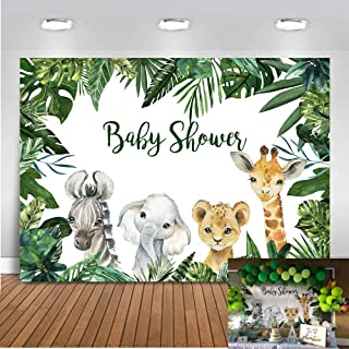 Mocsicka Dschungel Hintergrund für Babyparty, 2,1 x 1,52 m, Zebra Elefant, Löwe, Giraffe, Safari, Fotohintergrund