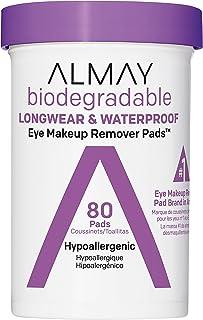 Almay Biodegradable Longwear & Waterproof Eye Makeup Remover Pads, Hypoallergenic, Cruelty Free, Fragrance Free Cleansing ...