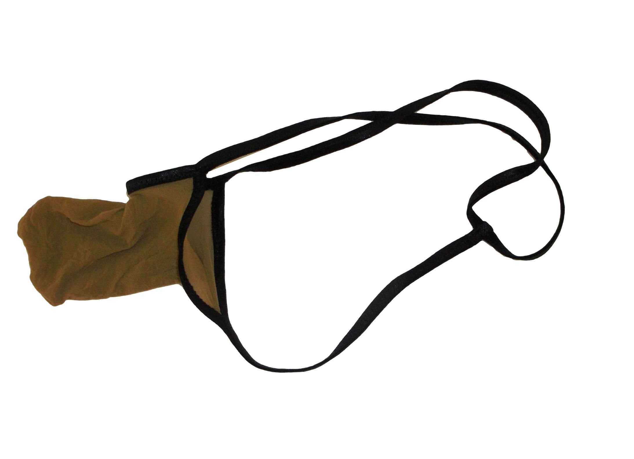 Mens G String Torpedo Missile Thong EXPANDABLE Stretchy Stocking SUN TAN Made in USA
