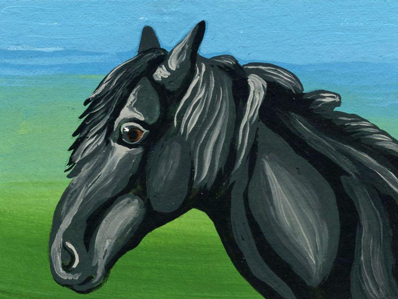 ACEO ATC Ranking TOP3 -Black Horse Farmyard Smal Miniature Art [Alternative dealer] Painting-Carla