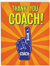 Thank You Coach From All of Us - Big Thank You Card with Envelope (Large 8.5 x 11 Inch) - Sports Team Appreciation Greeting Card for Teacher, Mentor - Colorful Stationery Notecard J5786TYG-US