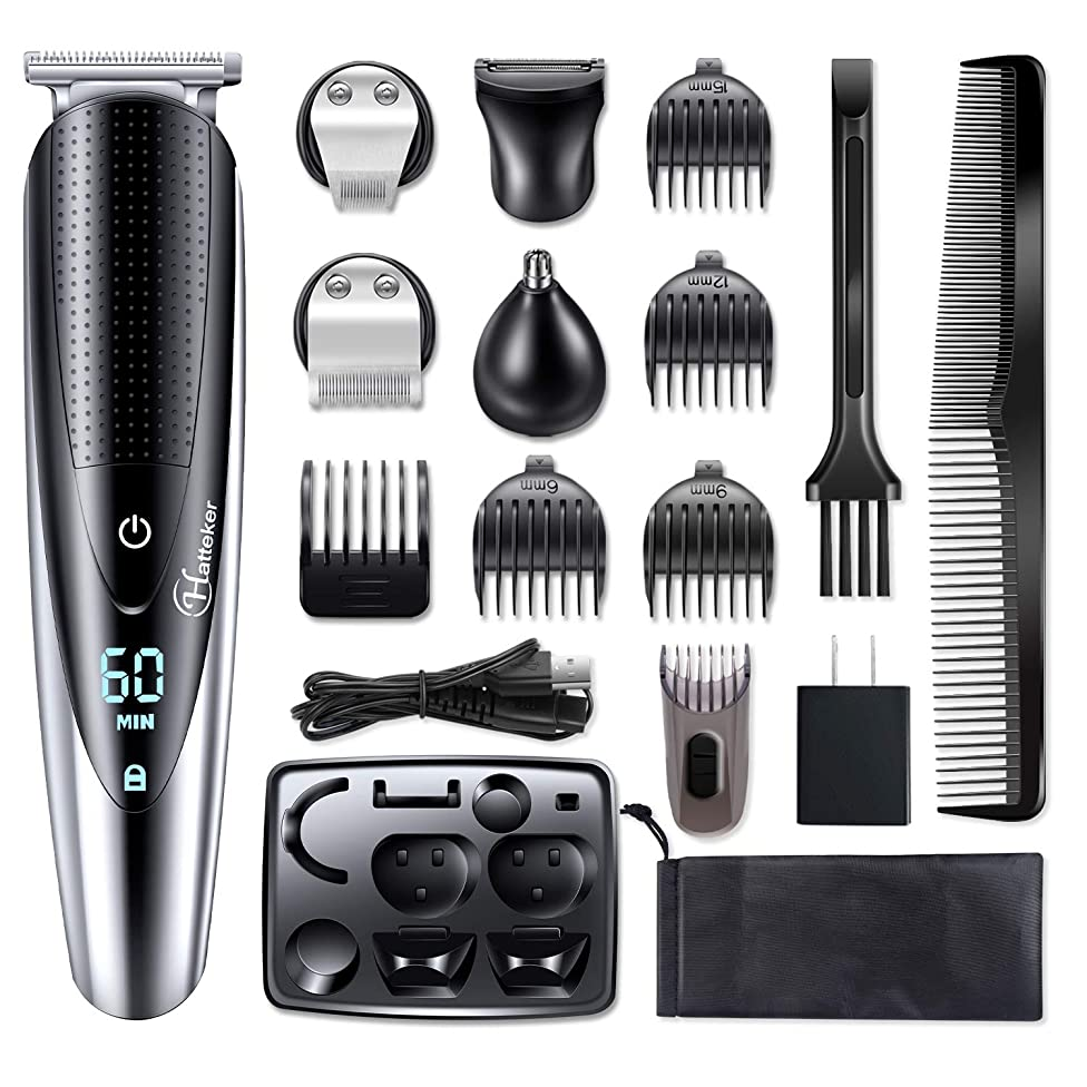 Hatteker Mens Beard Trimmer Grooming kit Hair trimmer Mustache trimmer Body groomer Trimmer for Nose Ear Facial Hair Cordless Waterproof 5 In 1