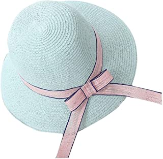 Howely Women's Beach Bow Straw Hats Wide Brim Cap