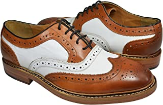 Paul Malone Tan and White Wing Tip Spectators 100% Leather