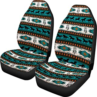 Native American Aztec Horses Dream Catchers Print Car Seat Covers for Auto Truck SUV Front Seats Protector Green