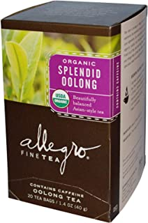 Allegro Fine Tea, Organic Splendid Oolong Tea, 20 Tea Bags, 1.4 oz (40 g) (Pack Of 2 )