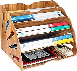 Tonsmile Organisateur de Fichiers, Trieur en Bois Classement Papier Bureau Rangement pour Papier A4, Magazine et Document(...