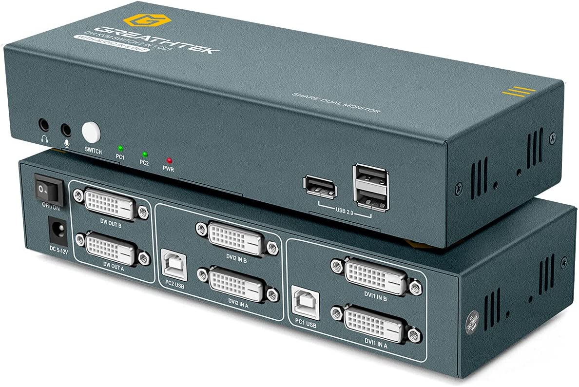 DVI KVM Switch 2 Port Support Dual Monitor with Cable Kit,Support 4Kx2K@30Hz 1200P 1080P@60Hz,with 2 USB Cables and 4 DVI Cables
