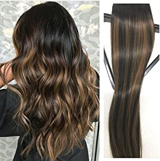 Clip in Hair Extensions Human Hair 16 inch Black with Light Brown highlights Dip Dyed Ombre Balayage 120g Full Head Straight Soft Extension Clips on