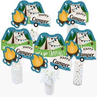 Happy Camper - Camping Baby Shower or Birthday Party Centerpiece Sticks - Table Toppers - Set of 15