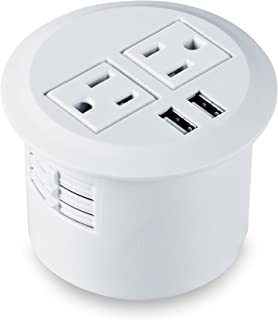 Kungfuking Desktop Power Grommet Power Outlet Socket Desk Data Center 2 Outlet with 2 USB Ports with 10 FT Extension Cord(White)