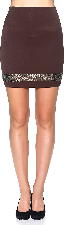 Rokoko Women's Sequined High Waist Solid Mini Skirt