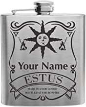 Personalized Souls of the Dark Warrior of Sunlight Game Inspired Estus Flask Design Custom Printed Stainless Steel Alcohol Hip Flask, 6 Oz. Stainless Steel