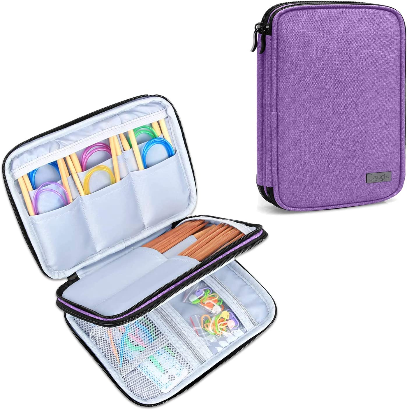 Luxja Knitting Max 75% OFF Needles Raleigh Mall Case up to Organizer Inches Travel St 8