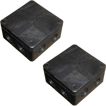 Caja de conexiones para exteriores IP66 impermeable, 91 mm x 47 mm, con bloques de conector y partes extraíbles, color negro, 2 unidades.: Amazon.es: Bricolaje y herramientas