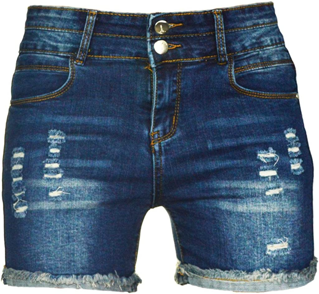 PHOENISING Women's Sexy Stretchy Fabric Hot Pants Distressed Denim Shorts, Size 2-16