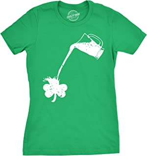 Womens Pouring Shamrock T Shirt Funny Drinking Shirt for Ladies