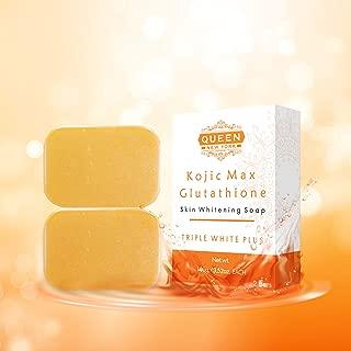 QUEEN Natural Skin Whitening Soap Bar Triple White Plus WHIPP Soap Premium formula with Delicate Net for Softening Whip Foam (2 Bars+Mesh, Kojic+Gluta)