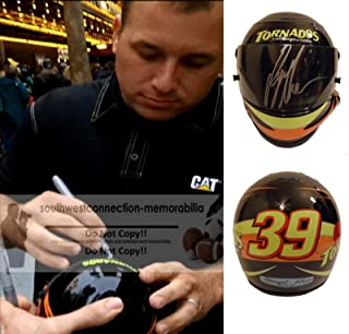 Nascar Ryan Newman Autographed Hand Signed Tornados Stewart-Haas Racing 1:3 Scale Mini Helmet with Exact Proof Photo of Signing and COA, Monster Energy Cup Series