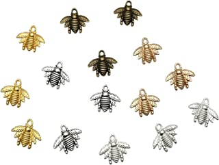 Goiio 100pcs Alloy Insect Bee&Honeybee Charms Pendant Jewelry Findings for Jewelry Making DIY Necklace Bracelet,20x16mm(5 Colors).