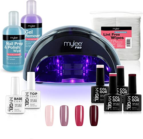 Mylee Kit Gel Semi-Permanent Professionnel London, 4x Gels Couleur, 1x Gel Base Coat, 1 x Gel Top Coat, Lampe LED Con...