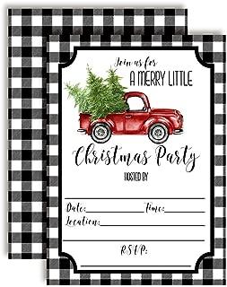Black Buffalo Plaid Red Watercolor Pickup Truck Christmas Holiday Party Invitations, 20 5