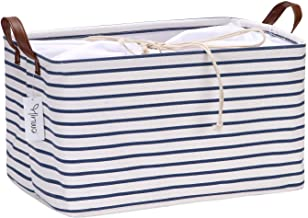 Hinwo 31L Large Capacity Storage Basket Canvas Fabric Storage Bin Collapsible Storage Box with PU Leather Handles and Draw...