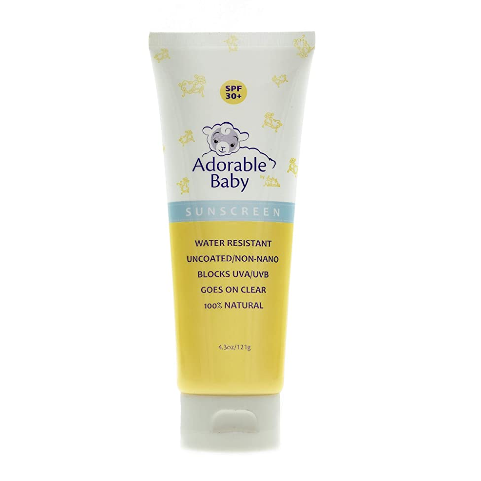 Adorable Baby By Loving Naturals All Natural Sunscreen Spf 30 + for Toddler Children and Adults Non Nano Zinc Oxide 4.3 Oz UVA/UVB