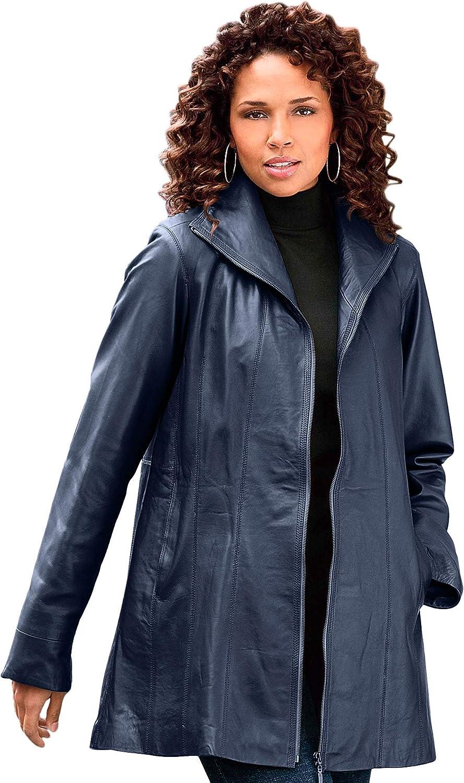 Roaman's Women's Plus Size A-Line Leather Jacket